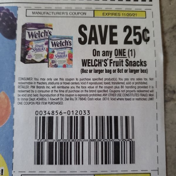 10 Coupons $25/1 Welch's Fruit Snacks (8oz+Bags or 8ct+ Box) Exp.11/20/21