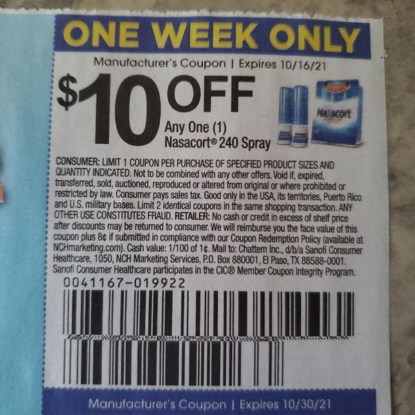 10 Coupons $10/1 Nasacort 240 Spray Exp.10/16/21