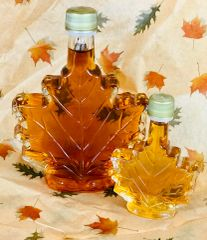 250 ML Maple Syrup in Glass Leaf Container