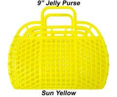 "The ORIGINAL 9"" Retro Jelly Purse by Fashion Jellies, Sun Yellow"