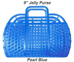 "The ORIGINAL 9"" Retro Jelly Purse by Fashion Jellies, Pearl Blue"