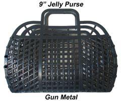 "The ORIGINAL 9"" Retro Jelly Purse by Fashion Jellies, Gun Metal"