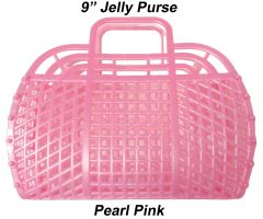 "The ORIGINAL 9"" Retro Jelly Purse by Fashion Jellies, Pearl Pink"