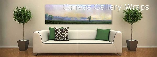 Canvas Gallery Wraps are finished with a protective coating that can be cleaned.
