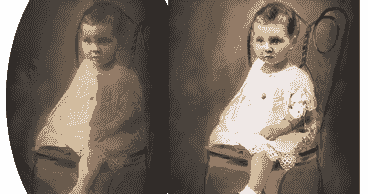 Photo restoration of stain and discoloration damage
