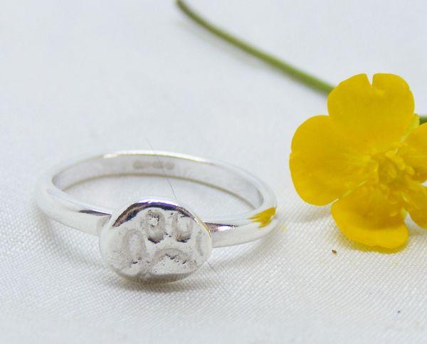 Size K Us Size 5 1 4 Silver Paw Print Ring Handmade Paw Ring Hallmarked