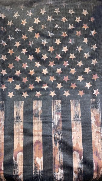 Camouflage American flag ultra dry fit materiel.