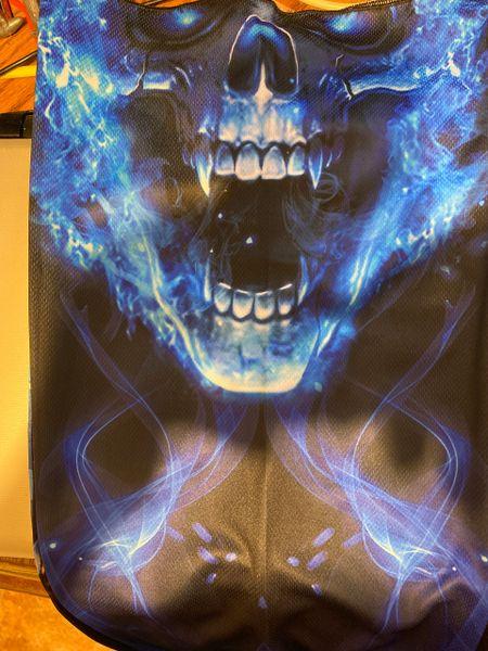 Flaming blue skull ultra premium fabric.