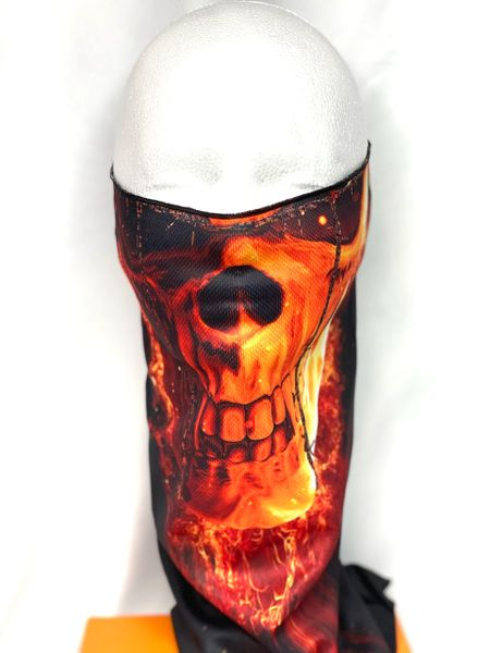 Flamin Skull Face Shield