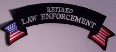 RETIRED LAW ENFORCEMENT ROCKER WITH AMERICAN ACCENT LARGE