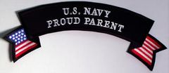 U.S. NAVY PROUD PARENT W AMERICAN FLAG LRG (TOP ROCKER)