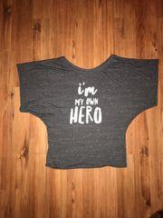 """I'm My Own Hero"" Grey Blousy Arm Tee"