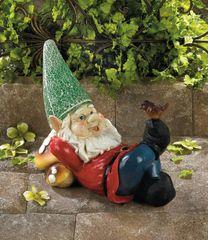 Lazy Gnome Solar Statue