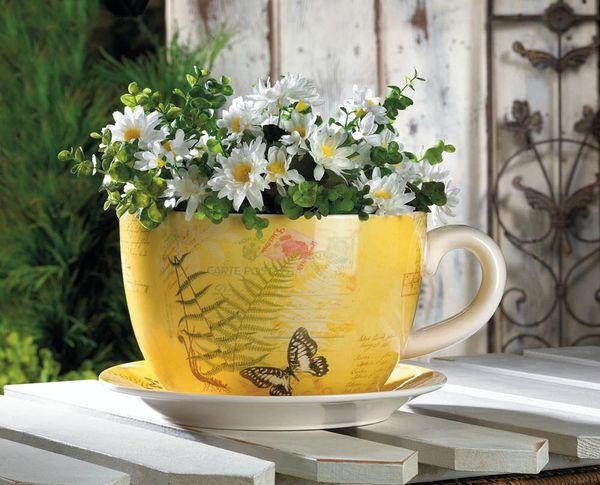 Large Garden Butterfly Teacup Planter