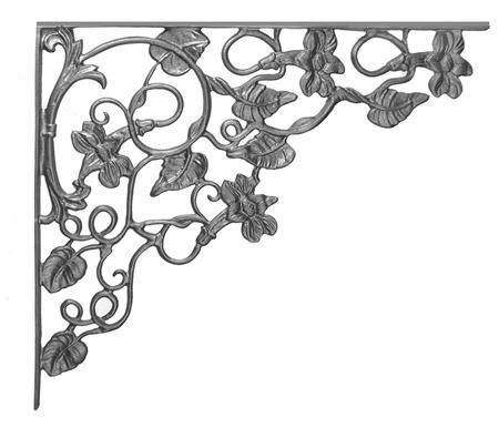 #(58) Cast Iron Morning Glory Corner Casting / Bracket