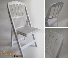 USED White Chateau folding & stacking chair