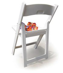 USED white Chip folding and stacking chair, with new padded seat