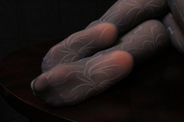 Well Worn Grey Pantyhose w Beautiful design