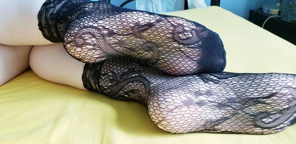 Worn Black Lace Socks