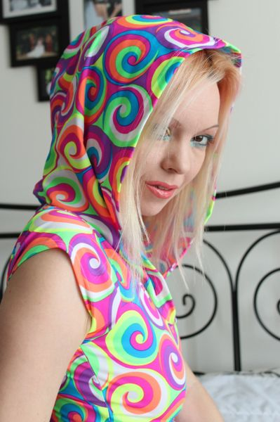 Bright Colorful 2 piece Rainbow Pride Parade Costume with Hood - Size S/M