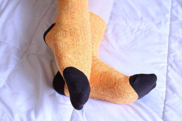 Yellow and Brown Casual Sporty Well Worn Socks