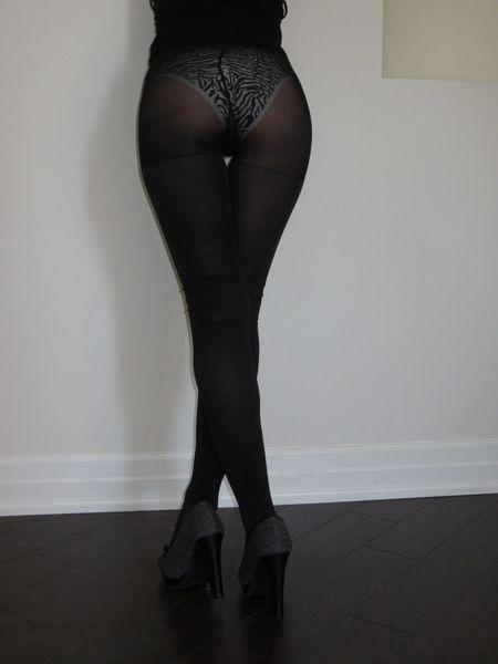 Well Worn Sheer Black Nylon Pantyhose