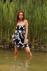 Beautiful Feminine Black and White Party Dress