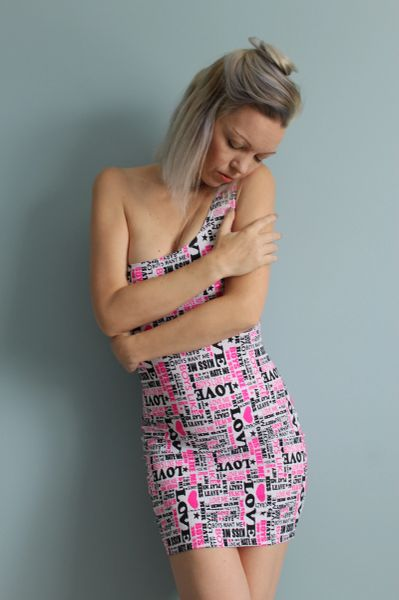 Black, White and Pink Sexy Valentine Love Graphic Form Fitting Dress