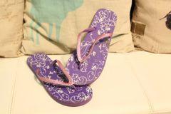 Worn Trashed Purple Flip Flops