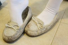Worn Very Trashed White Moccasins Shoes