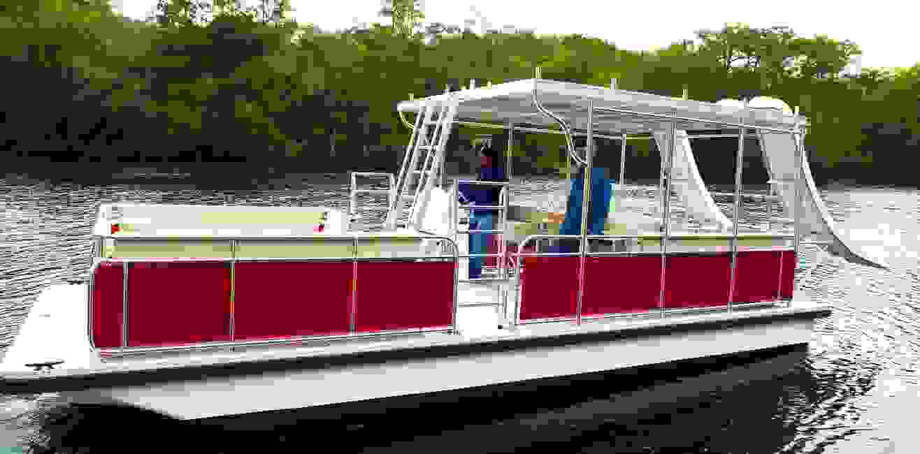 The Bull Dog Double Slide Party Barge for the Marine rental Industry