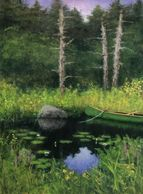 The Artist's canoe (a Stowe Mansfield) at Stillwater Pond, Chatham, MA. TV