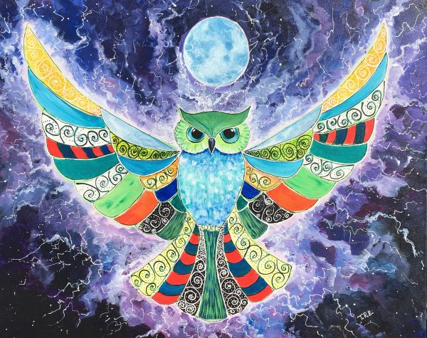 """Owl always look out for you - Original Painting 24"""" x 30"""""""