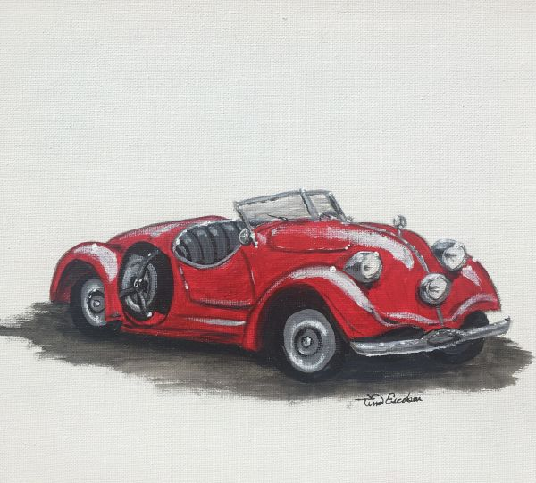 My little red roadster - Original painting