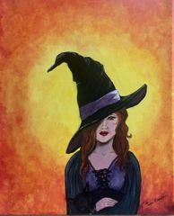 "Witchy Woman 11"" x 14"" Acrylic on stretched canvas"