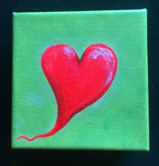 "Spark Art in the Heart 4""x4"" acrylic painting"
