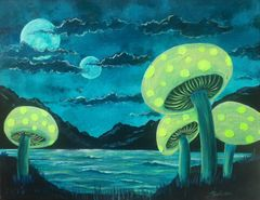 "Moon Shrooms in Bloom 16"" x 20"" acrylic on canvas original painting"