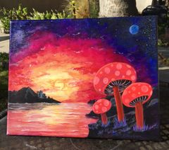 "Moonshrooms of another world 11"" X 14"" Acrylic on canvas original painting"
