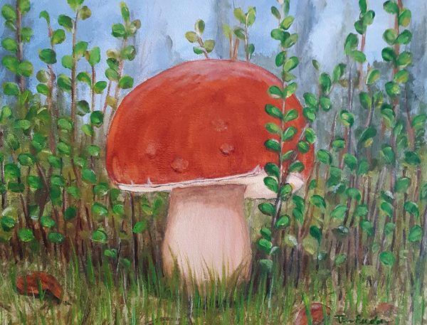 "Mushroom acrylic painting 11"" x 14"""