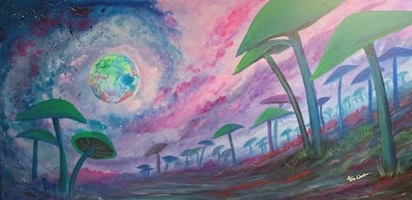 "Cosmoshrooms Original arcrylic glow/flourescent painting. 18""X36"""