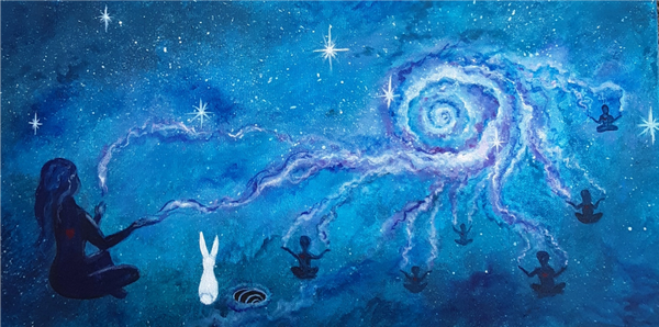 "Cosmic Connection - Acrylic on canvas 10""x20'"