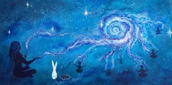 "Cosmic Connection - Acrylic on canvas 10""x20'"