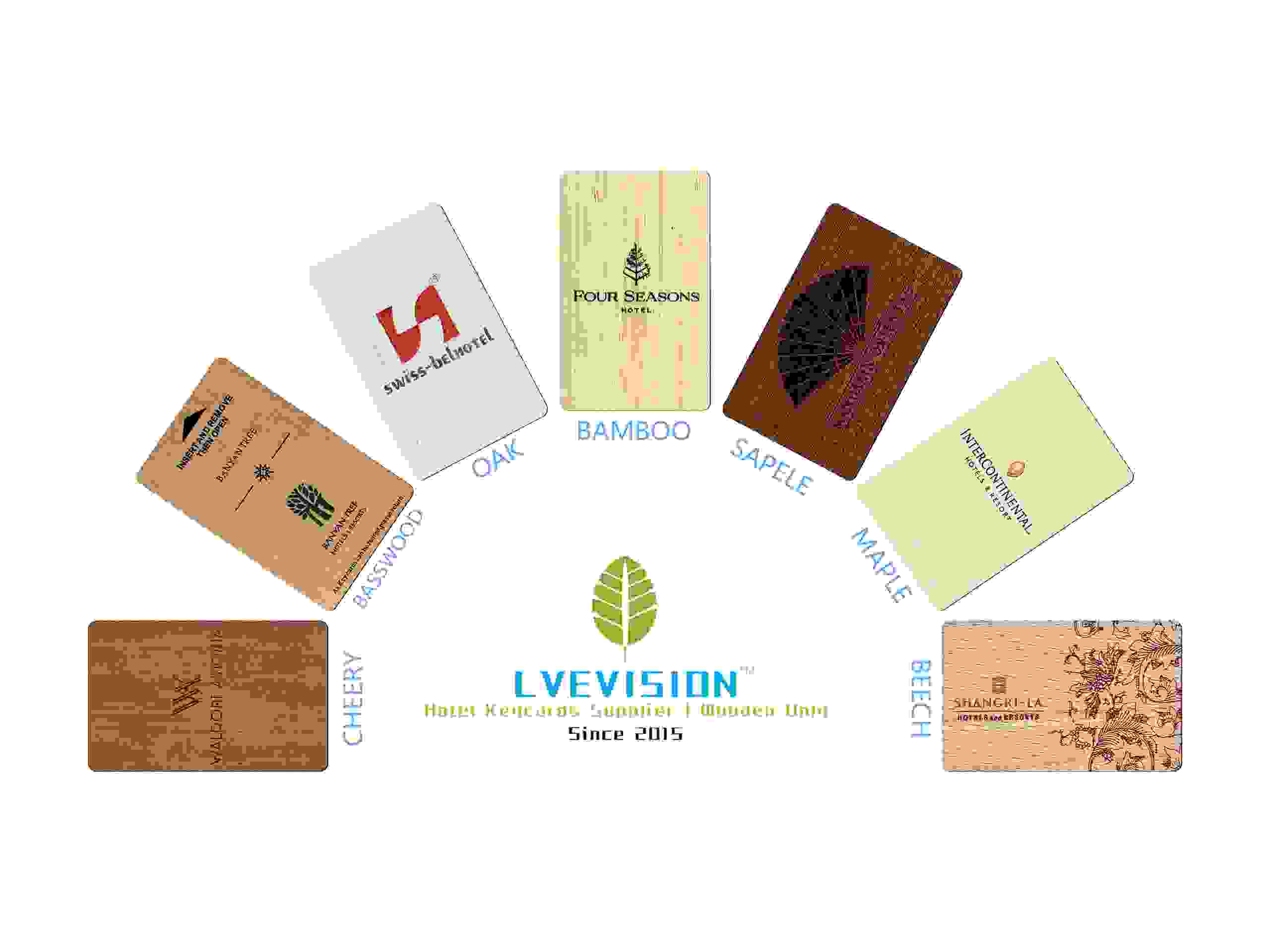 eco friendly wooden hotel key cards RFID card sustainable biodegradable elimanation plastics