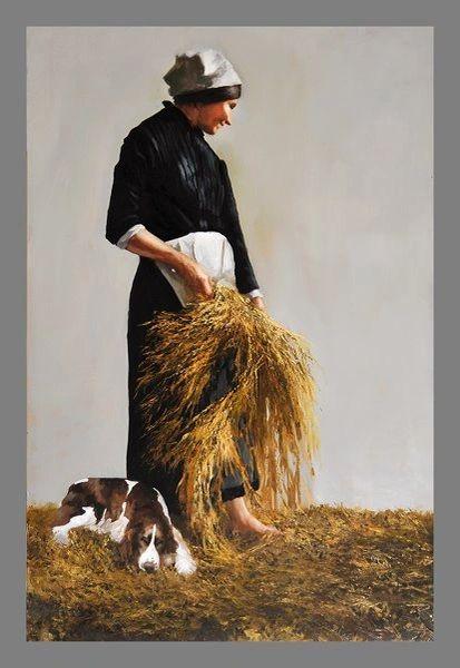 Lady & Dog in Wheatfield