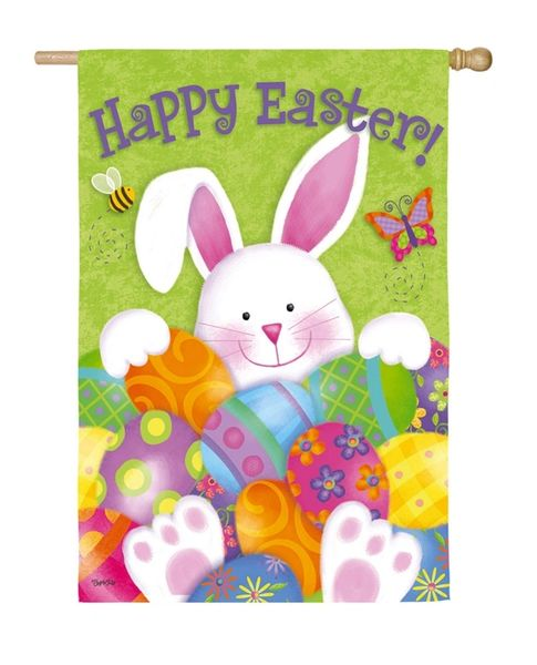 Bunny With Eggs House Flag