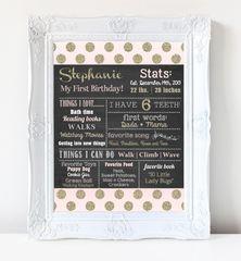 First Birthday Chalkboard Poster, First Birthday Milestone Chalkboard, Pink and Gold Chalkboard Poster, Glitter Chalkboard Poster, Blush