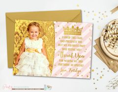 Pink and Gold Thank You Card, Birthday Thank You Card, Princess Thank You Card, Thank You Card, Princess Birthday Thank You Card, Gold