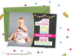 First Birthday Thank You Card, Chalkboard Thank You Card, Number One Thank You Card, First Birthday Thank You Card, Photo Thank You Card