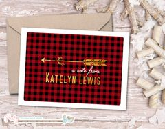 Personalized Note Card, Personalized Stationery, Personalized Stationary, A7 Note Cards, Buffalo Plaid, Rustic, Gold, Gift, Notecards