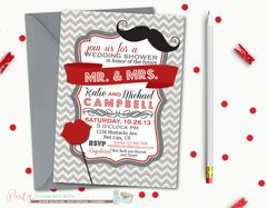Lips and Mustache Wedding Shower Invitation, Couples Shower Invitation, Mr. and Mrs. Wedding Shower Invitation, Chevron Shower Invitation